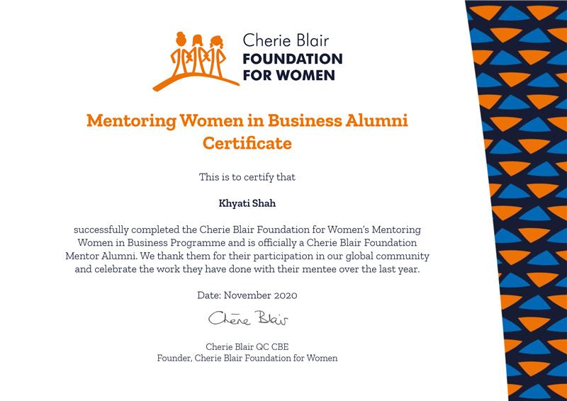 Cherie Blaire certificate